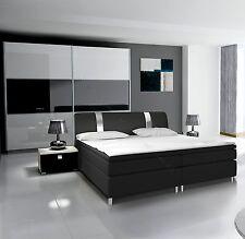 Komplett Schlafzimmer RivaBOX in Hochglanz mit BOXSPRINGBETT weiß / schwarz