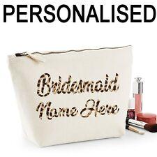 Bridesmaid Personalised Name Women's Make Up Bag Wedding Hen Gift Leopard Print