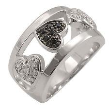 Silver Trends Damen-Ring echt Silber 925 Herz Zirkonia schwarz weiß