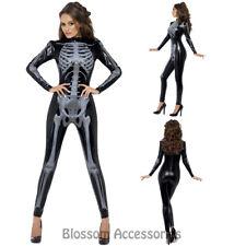CL580 Fever Skeleton Skeletons Bodysuit Catsuit Halloween Fancy Skull Costume