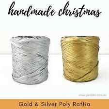 20 metre length POLY RAFFIA - matte GOLD OR SILVER - choose colour - Christmas