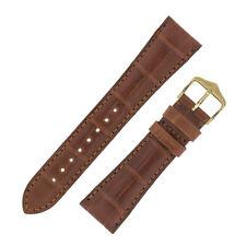 Hirsch LONDON Genuine Matt Alligator Leather Padded Watch Strap in GOLD BROWN