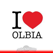 adesivo I LOVE OLBIA sticker PVC auto moto - Alta Qualità 2 colori