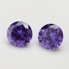 100pcs 0.8~10.0mm Round AAAAA Violet Purple Loose cz stone Cubic Zirconia gems