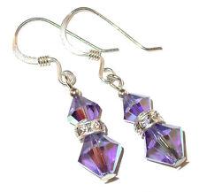 TANZANITE PURPLE Crystal Earrings Sterling Silver Dangle Swarovski Elements