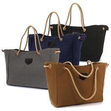 Women Canvas Handbag Double Rope Shoulder Tote Bag