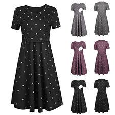 Women Pregnant Maternity Nursing Dot Print Tunic Summer Short Sleeve Short Dress