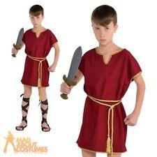 Child Roman Tunic Costume Boys Toga Warrior Burgundy Fancy Dress Outfit New