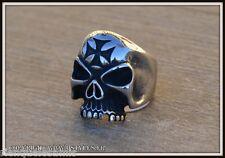 Bague Chevalière Maltese Cross / Skull ~ Taille 8 à 13  punk gothique biker -354