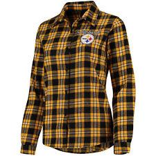 Women's Pittsburgh Steelers Black Wordmark Flannel Button-Up Long Sleeve Shirt