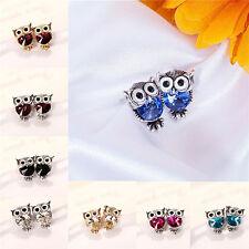 Fashion Women 1 Pair Owl Shape Crystal Ear Stud Wedding Gift Earrings Jewelry