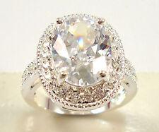 925 Silver Jewelry Oval Cut White Sapphire Women Wedding Ring Size 6-10