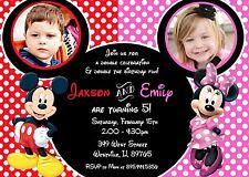 Mickey and Minnie, Mickey, Minnie, Twins, Siblings, Birthday Party Invitation