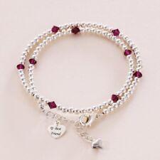 Birthstone Wrap Bracelet, Friendship bracelet with Engraved Tag, Ladies or Girls
