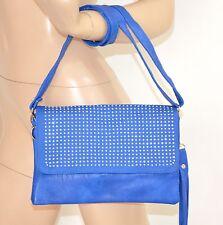 BORSELLO BLU pochette donna borsa pelle strass chiodini argento clutch bag 40X