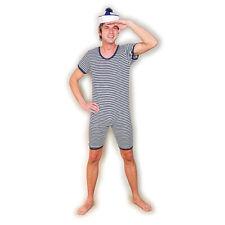 Herrenbadeanzug geringelt, Retro Badeanzug blau-weiß, 20er 30er Jahre gestreift