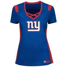 NEW YORK GIANTS NFL MAJESTIC WOMENS DRAFT ME BLING SHIRT M-L