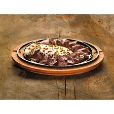 Paderno Sambonet Piatto pizza ghisa smaltata supporto legno mantiene il caldo