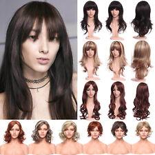 Ladies Blonde Auburn Wavy Curly Straight Medium Length Bob Synthetic Full Wig