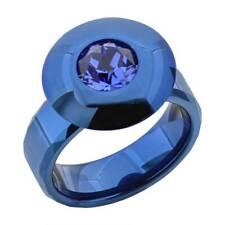 Blue Tungsten Stainless Steel Blue Round Simulated-Sapphire Men's Wedding Band