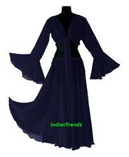 Navy Blue - Belly Dance Chiffon Skirt + Top Set Ruffle Tie Gypsy Dress Jupe