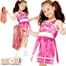 Pink Cheerleader Girls Fancy Dress Sports School Uniform Kids Costume Outfit New