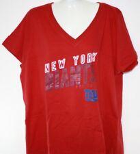 NEW Womens New York NY Giants V Neck Short Sleeve Red Football Shirt NFL Apparel