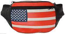 USA Flag Fanny Pack Stars & Stripes Belt Bag Travel Purse Waist Bag Real Leather