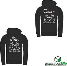King Queen Hoodie Pullover 2 STÜCK PARTNER LOOK Pärchen WUNSCHDRUCK DATUM WOW