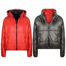Chaquetas De Chicas Niños Rojo Reversible Recortada Acolchado Con Capucha Puffer chaqueta abrigos 5-13