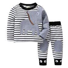 Autumn Newborn Baby Boys Girls Elephant Striped T-Shirt Tops Set Casaul Clothes