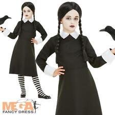 Gothic School Girl + Wig Fancy Dress Wednesday Addams Halloween Girls Costume