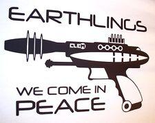 Ray Gun Earthlings spazio di pace LASER bmx surf skate punk STREET da uomo T stranieri