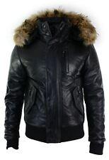 Capuche en fourrure véritable pour homme en cuir noir veste d'aviateur puffer rembourré