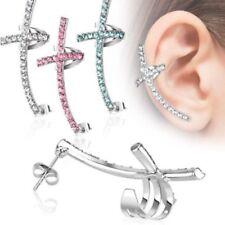 Steel Piercing Stud Jewelry (L or R) Cz Gem Paved Cross Ear Cuff Earring Unique