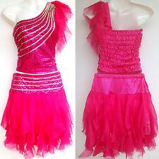 Mädchen Damen Cheerleader-Kostüm/Kleid Fasching/Cosplay Dress Pink Gr. 98-188