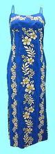 Hawaiian Luau Party Long Cotton Blue Spaghetti Strap Hibiscus Flower Dress-S-3XL