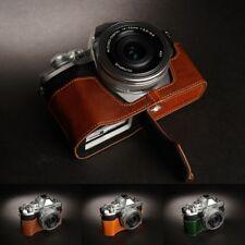 Genuine vera pelle mezza MacChina Fotografica Borsa Custodia Copertura Per Olympus OM-D E-M10 Mark III