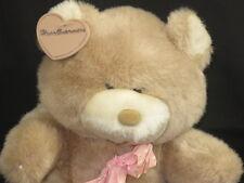 NEW VINTAGE MADE IN KOREA BROWN TEDDY BEAR HEARTWARMERS PLUSH POLKADOT BOW 1988