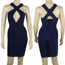 Navy Blue Color Cross Straps Deep V Neck Bandage Dress