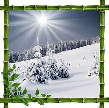 Sticker mural trompe l'oeil déco bambou Paysage montagne réf 914