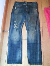 Rey Krash Crash lavado Ripped viciado Indigo Recto Ripped Jeans 30 en la cintura