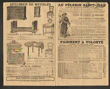 """PARIS (VII°) MAGASIN de MEUBLE & LINGERIE """"AU PELERIN SAINT-JEAN"""" en 1890"""