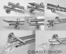Innenlauf Edelstahl look Gardinenstange 20mm auch Kristall versch. Designs H40
