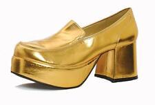 Gold Platform 70s Party Pimp Daddy Disco Dancer Mens Costume Shoes size 9 10 11