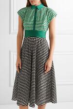 $1495 NEW LELA ROSE Gingham Crinkled Voile Midi Dress Green Black Full Skirt 8