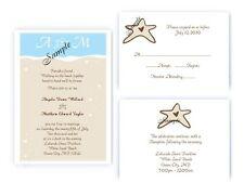 100 Personalized Custom Beach Themed Wedding Invitations Set