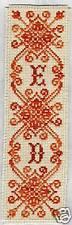 Grille point de croix MARQUE-PAGE - MONOGRAMME INITIALES - réf : 6502