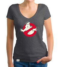 Damen T-Shirt V-Ausschnitt - Ghost Busters - Glow - Leuchtet im Dunklen Film Fan