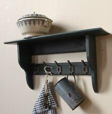 Dark grey industrial vintage shelf with coat hooks
